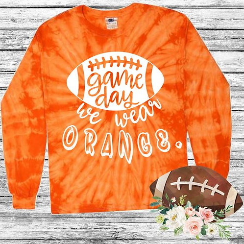 Graphic Tie Dye TEE Long Sleeve Game Day We Wear Orange