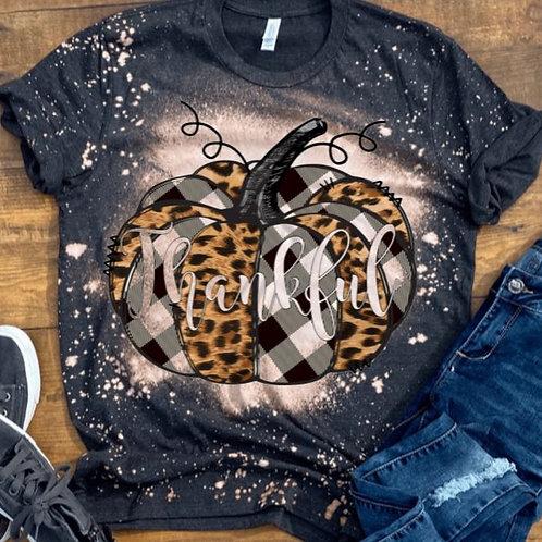 BLEACHED TEE Short or Long Sleeve Thankful Pumpkin Black Plaid Leopard