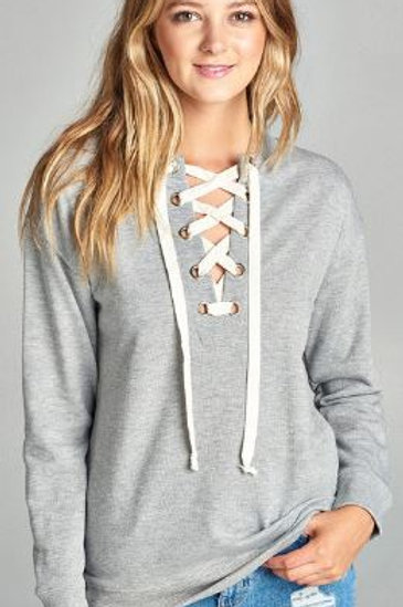 Long Raglan Sleeve Lace-up French Terry Shirt Gray