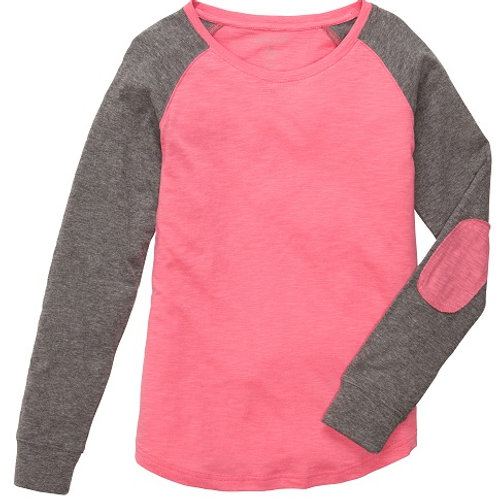 Preppy Patch Slub Tee Adult and Youth Sizes Coral/Granite
