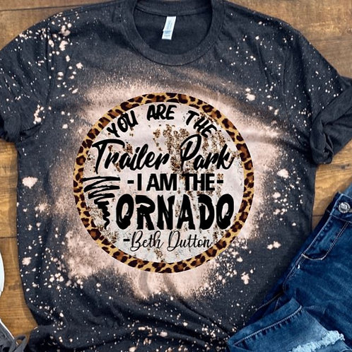BLEACHED TEE Short or Long Sleeve Yellowstone Trailer Park Tornado