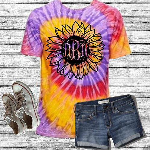 Graphic Tie Dye TEE Short Sunflower Handdrawn Monogram Fancy