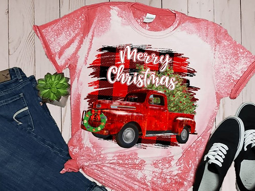 BLEACHED TEE Short Sleeve or Tank Merry Christmas Big Red Truck