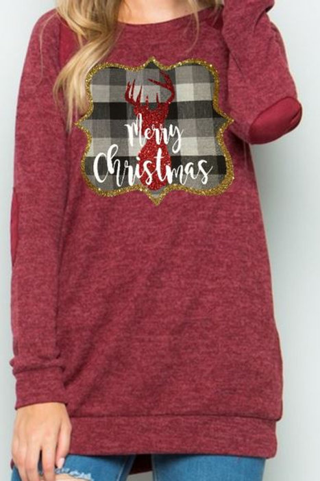 Brushed Knit Elbow Patched Long Sleeve Tunic Plaid Christmas Deer Burgundy