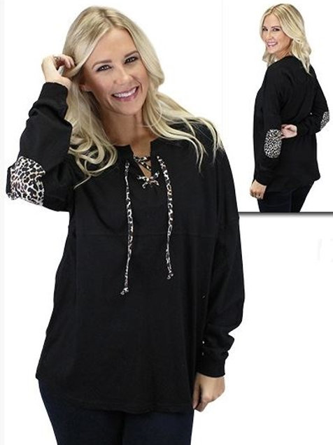 Leopard Lace Up Spirit Jersey with Elbow Patches Black