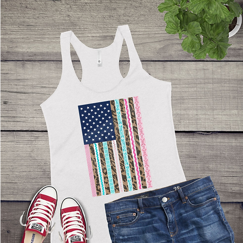 Tank Top GRAPHIC SHIRT Leopard Flag Turquoise Pink