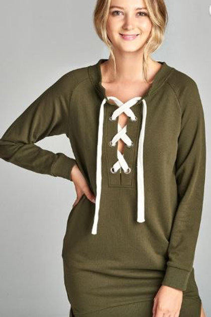 Long Raglan Sleeve Lace-up French Terry Dress Shirt Olive