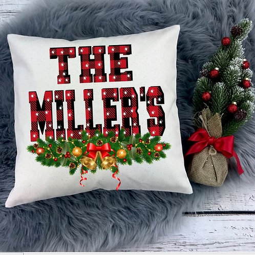 Personalized SUBLIMATED Pillow Covers Red Plaid Family Name Block2