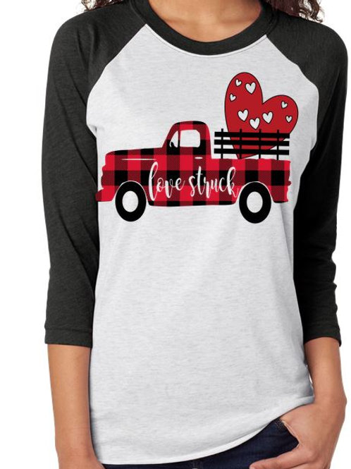 SUBLIMATED RAGLAN Love Struck Plaid Truck