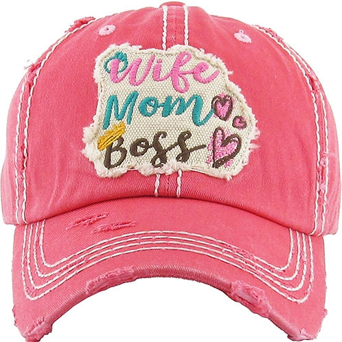 Caps Women's Hat Wife Mom Boss Many Colors