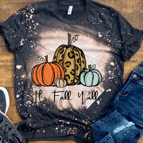 BLEACHED TEE Short or Long Sleeve It's Fall Yall 3 Pumpkins