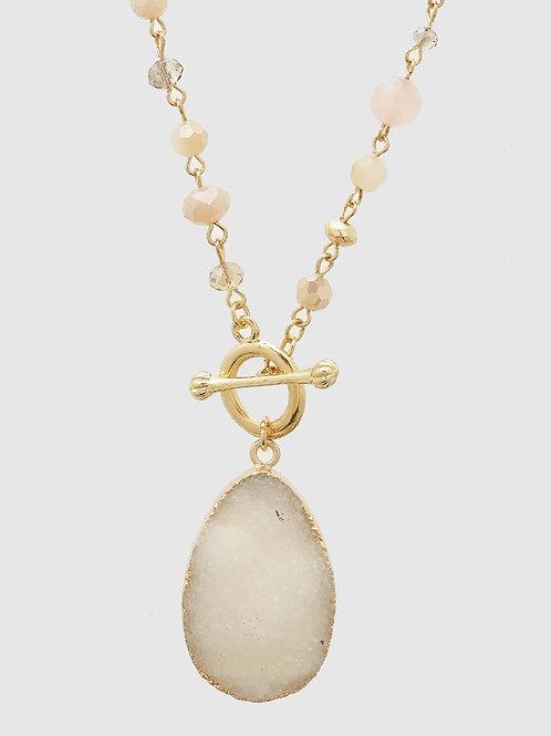 Genuine Druzy Toggle Pendant Necklace