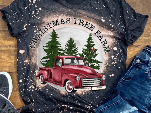 BLEACHED TEE Short Sleeve or Tank Christmas Tree Farm