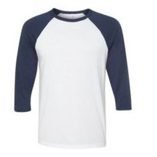 Bella & Canvas Unisex 3/4 Sleeve Raglan Tee Navy/White
