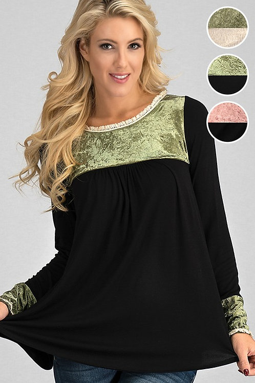 Long Sleeve Babydoll Top with Satin detail Many Colors & Sizes