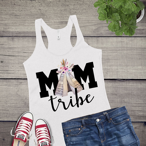 Tank Top GRAPHIC SUBLIMATED SHIRT Mom Tribe Black Lettering