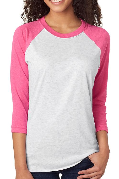 Next Level Unisex Tri-Blend 3/4 Sleeve Raglan Tee Hot Pink