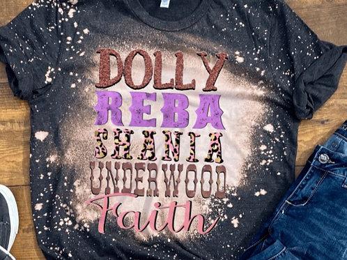 BLEACHED TEE Short Sleeve or Tank Dolly Reba Shania Underwood Faith