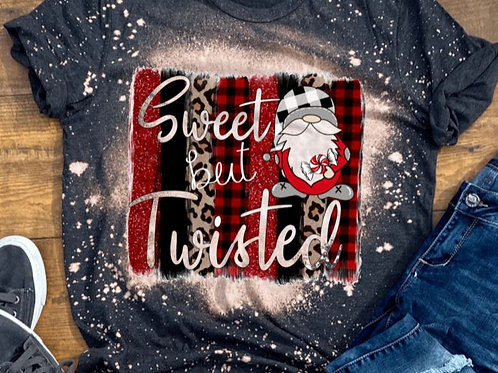 BLEACHED TEE Short Sleeve or Tank Christmas Sweet But Twisted Gnome