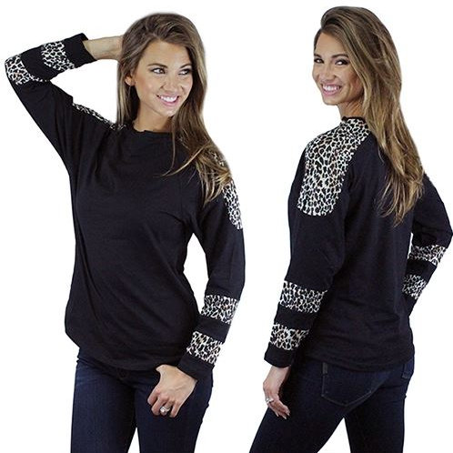 Leopard Long Sleeve Print Top Sizes S, M, L, XL, 2XL, 3XL Black