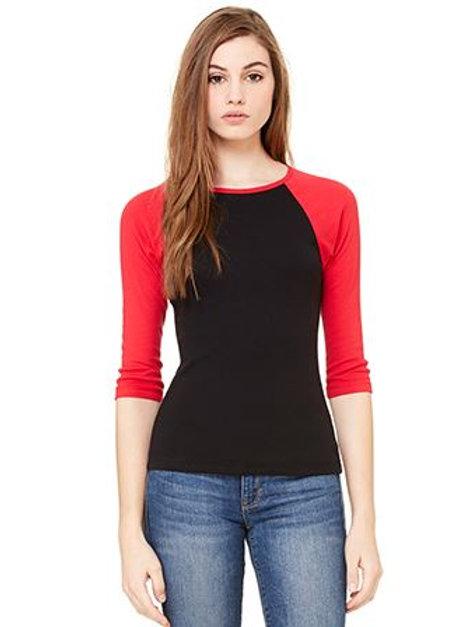 Bella & Canvas Women's Baby Rib 3/4 Sleeve Contrast Raglan Tee All Sizes Red/Bla