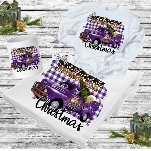 SUBLIMATED BLANKET SET-Blanket, Mug Long Sleeve Merry Christmas College ANY TEAM
