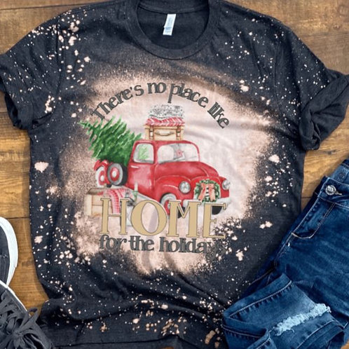 BLEACHED TEE Short or Long Sleeve Christmas No Place Like Home