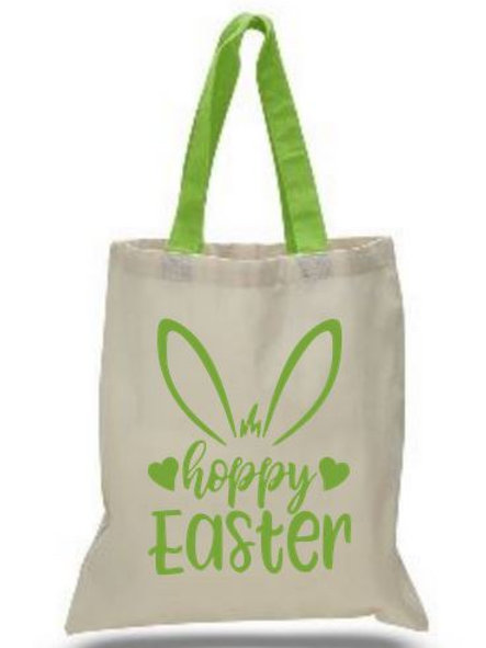 Easter Basket Tote Bags Cotton with Colored Handles All Colors Style #5