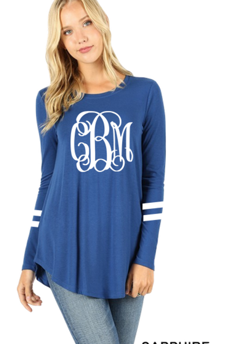 GRAPHIC TEE Tunic Long Sleeve Sapphire Team or Monogram