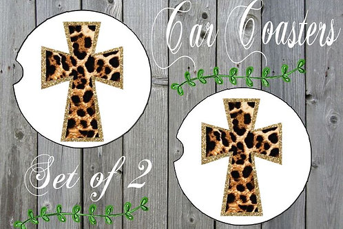 SUBLIMATED Car Coasters Set of 2 Rubber or Sandstone Cross Leopard