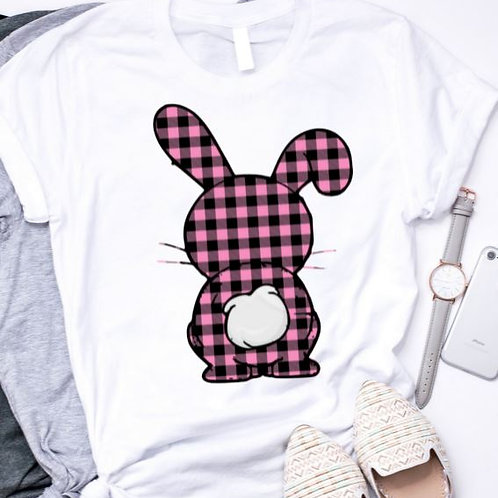 SUBLIMATED TEE Short or Long Sleeve Easter Bunny Pink Plaid