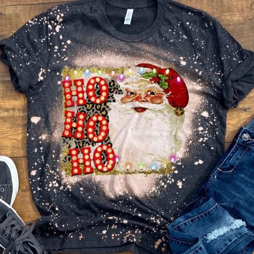 BLEACHED TEE Short or Long Sleeve Christmas Ho Ho Ho Marquee Santa