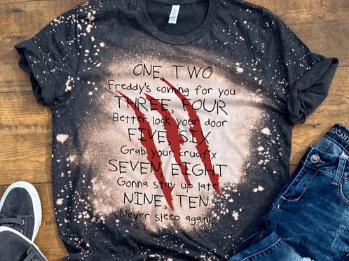BLEACHED TEE Short or Long Sleeve One Two Freddy's Coming