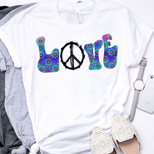 SUBLIMATED TEE Short or Long Sleeve Hippie LOVE Abstract Blue
