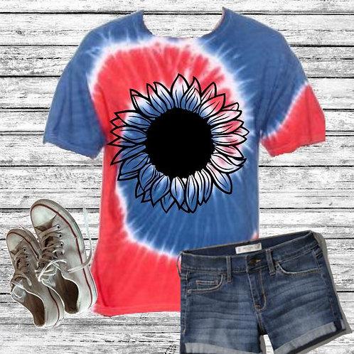 Graphic Tie Dye TEE Short Sunflower Handdrawn Spider Royal Red
