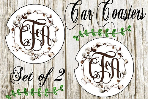 SUBLIMATED Car Coasters Set of 2 Rubber or Sandstone Monogram Cotton Wreath