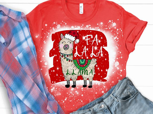 BLEACHED TEE Short or Long Sleeve Christmas FA LA LA Llama
