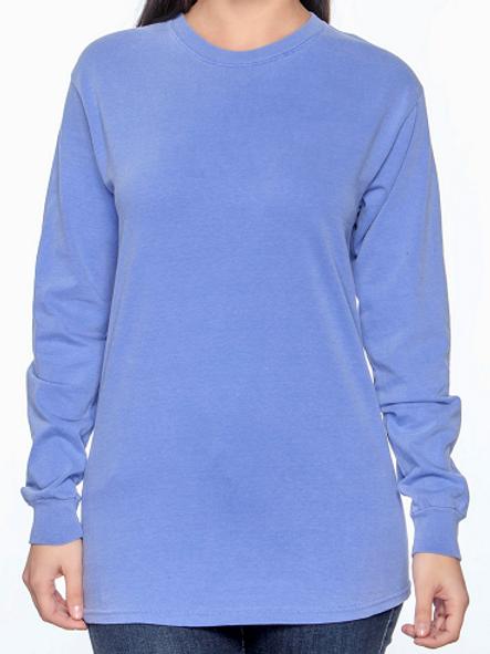 Comfort Colors Unisex Adult Long Sleeve Tee Flo Blue