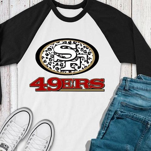 SUBLIMATED TEE RAGLAN 49ers Logo Black Leopard