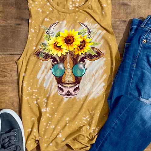 BLEACHED TANK TOP or TEE Cow Glasses Sunflower