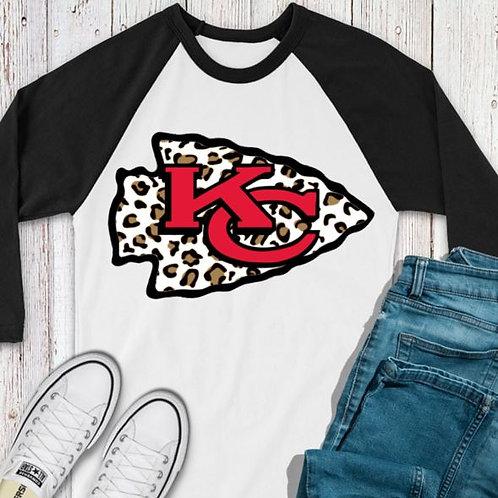 SUBLIMATED TEE RAGLAN KC Logo Brown Leopard