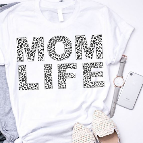 SUBLIMATED TEE Short or Long Sleeve Mom Life Leopard B & W