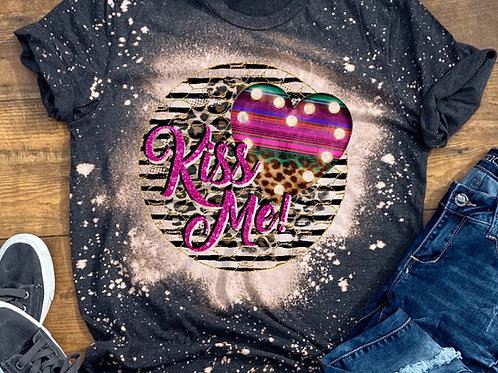 BLEACHED TEE Short or Long Sleeve Valentine Kiss Me Black Stripe Circle