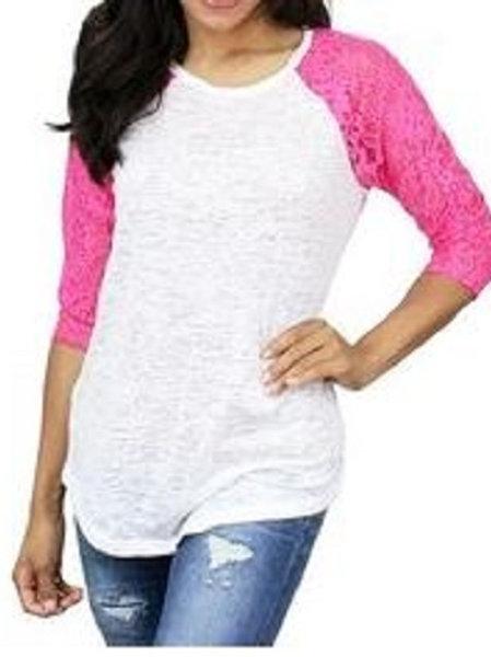 Burnout Baseball 3/4 Sleeve Raglan Shirt Hot Pink White