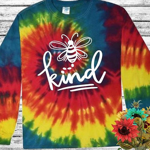 Graphic Tie Dye TEE Long Sleeve Be Kind Retro Rainbow