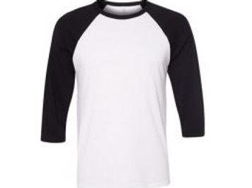 Bella & Canvas Unisex 3/4 Sleeve Raglan Tee Black/White