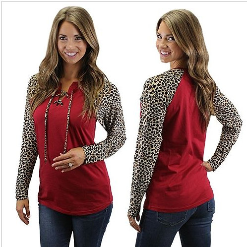 Lace Up Leopard Raglan Sleeve Shirt Burgundy