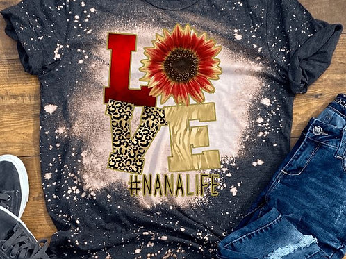 BLEACHED TEE Short or Long Sleeve Valentine LOVE Red Leopard