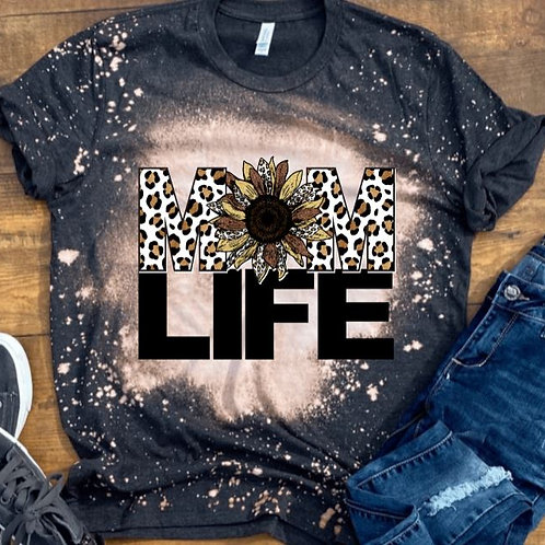 BLEACHED TEE Short or Long Sleeve Mom Life Brown Sunflower