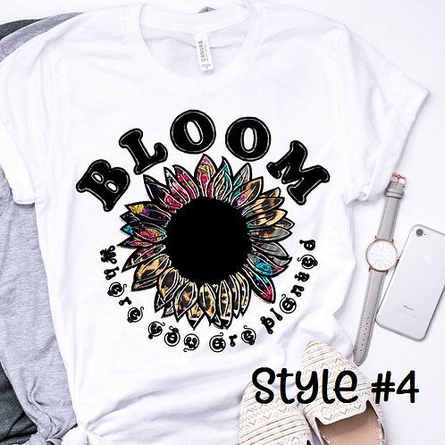 SUBLIMATED TEE Short or Long Sleeve Hippie Sunflower Bloom Style #4